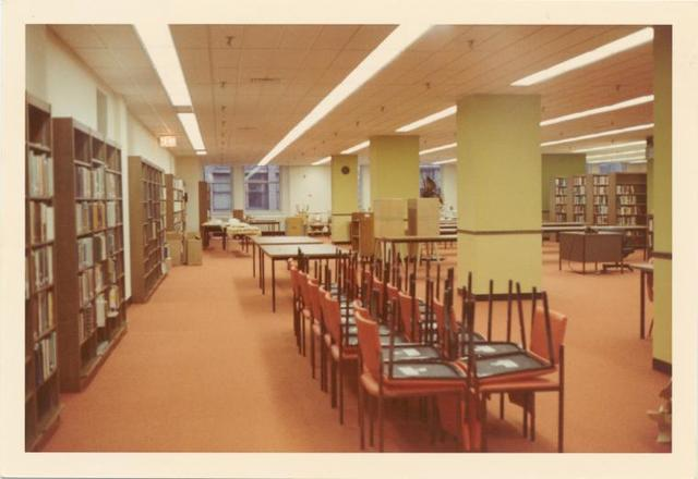 [Mid-Manhattan, Reading Room, chairs up.]