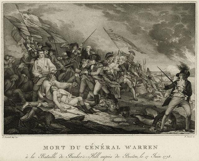 Mort du Général Warren à la Bataille de Bunker's Hill auprès de oston, le 17 Juin 1775.