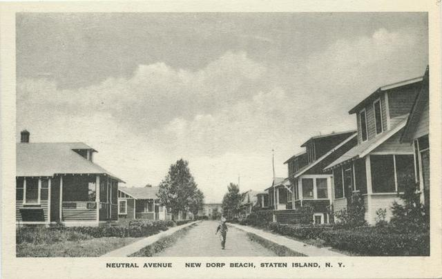 Neutral Avenue, New Dorp Beach, Staten Island, N.Y.  [houses on both sides of street, child walking down center of street]