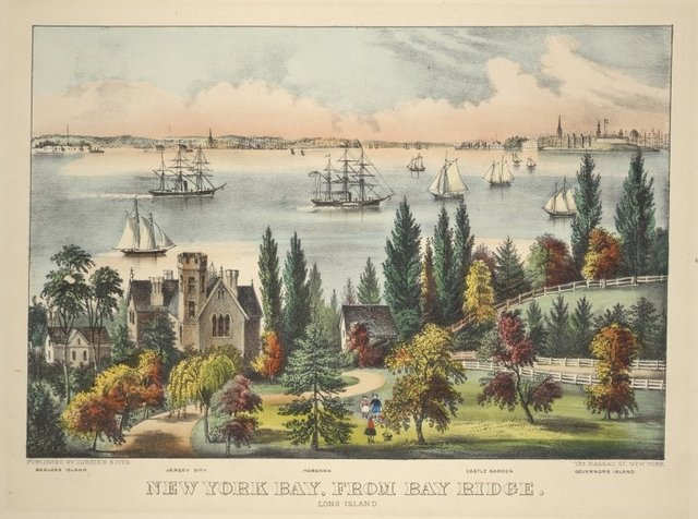 New York Bay, from Bay Ridge. Long Island. Bedloes Island, Jersey City, Hoboken, Castle Garden, Governor's Island