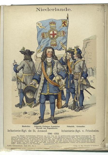 Niederlande. Infanterie-Rgt. de St. Amand : Musketier, Fähnrich Tieleman Franciskus Hoynck van Papendrech ; Infanterie-Rgt. v. Friesheim : Fähnrich, Grenadier.  1701-1713