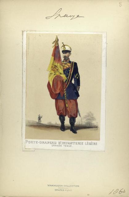 Porte-drapeau d'infanterie légère (grande tenue). 1860