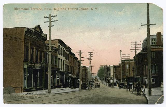 Richmond Terrace, Staten Island, N.Y.  [shops, people, trolley, horse and carriage]