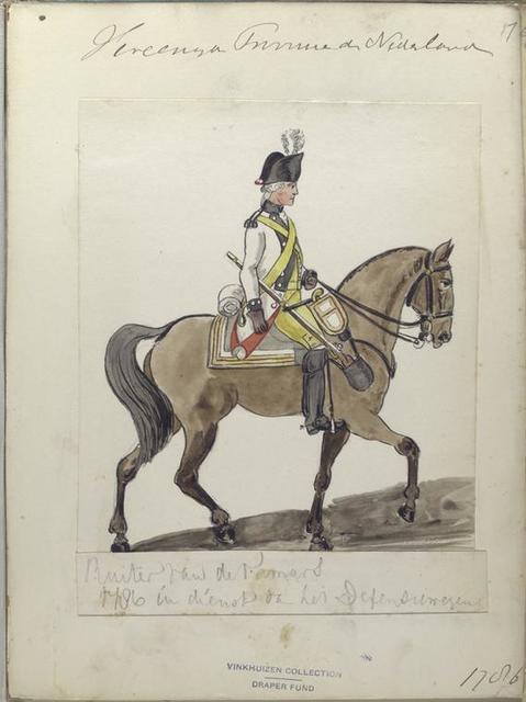 Ruiter van der Famars [?] in dienst ta het Defensiewezen. 1786