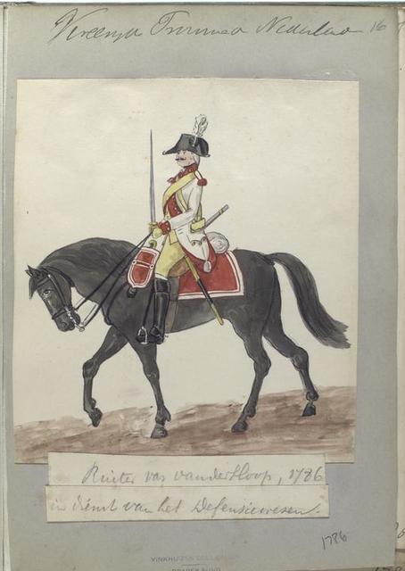 Ruiter van Vanderhoop, in dienst van het Defensiewezen. 1786