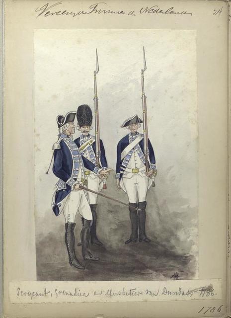 Sergeant, Grenadier en Musketier van Dundas, 1786