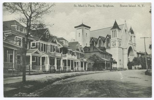 St. Mark's Place, New Brighton, Staten Island, N.Y.  [row of large homes and church along curved street]
