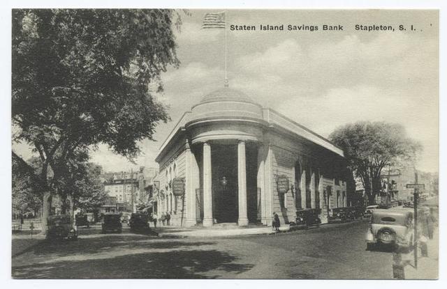 Staten Island Savings Bank   Stapleton, S.I. [people & old cars].