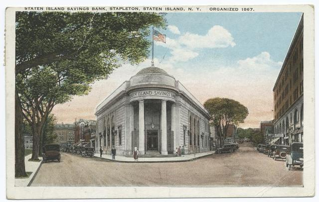 Staten Island Savings Bank Stapleton, Staten Island, NY   Organized 1867  [people and old cars]