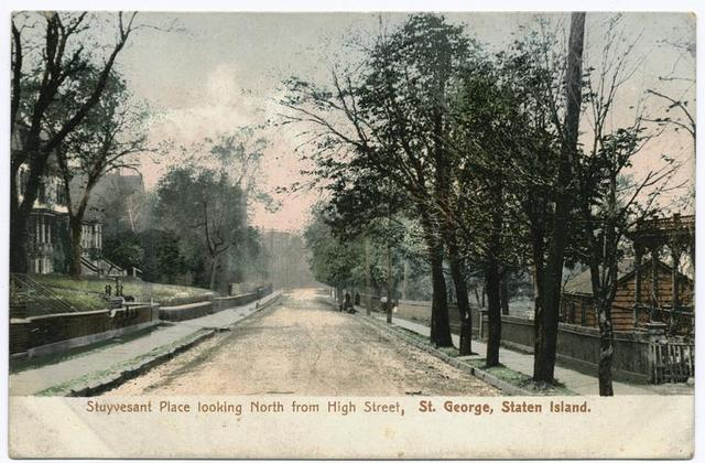 Stuyvesant Place looking North from High Street, St. George, Staten Island  [houses along tree-lined street]