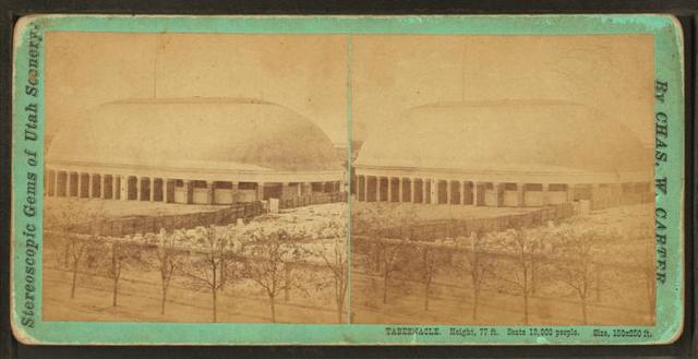 Tabernacle. Height, 77 ft. Seats 13,000 people. Size, 150 x 250 ft.
