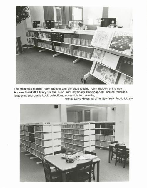 The children's reading room (above) and the adult reading room (below) at the new Andrew Heiskell Library for the Blind and Physicall Handicapped, include recorded, large-print and braille book collections, accessible for browsing.