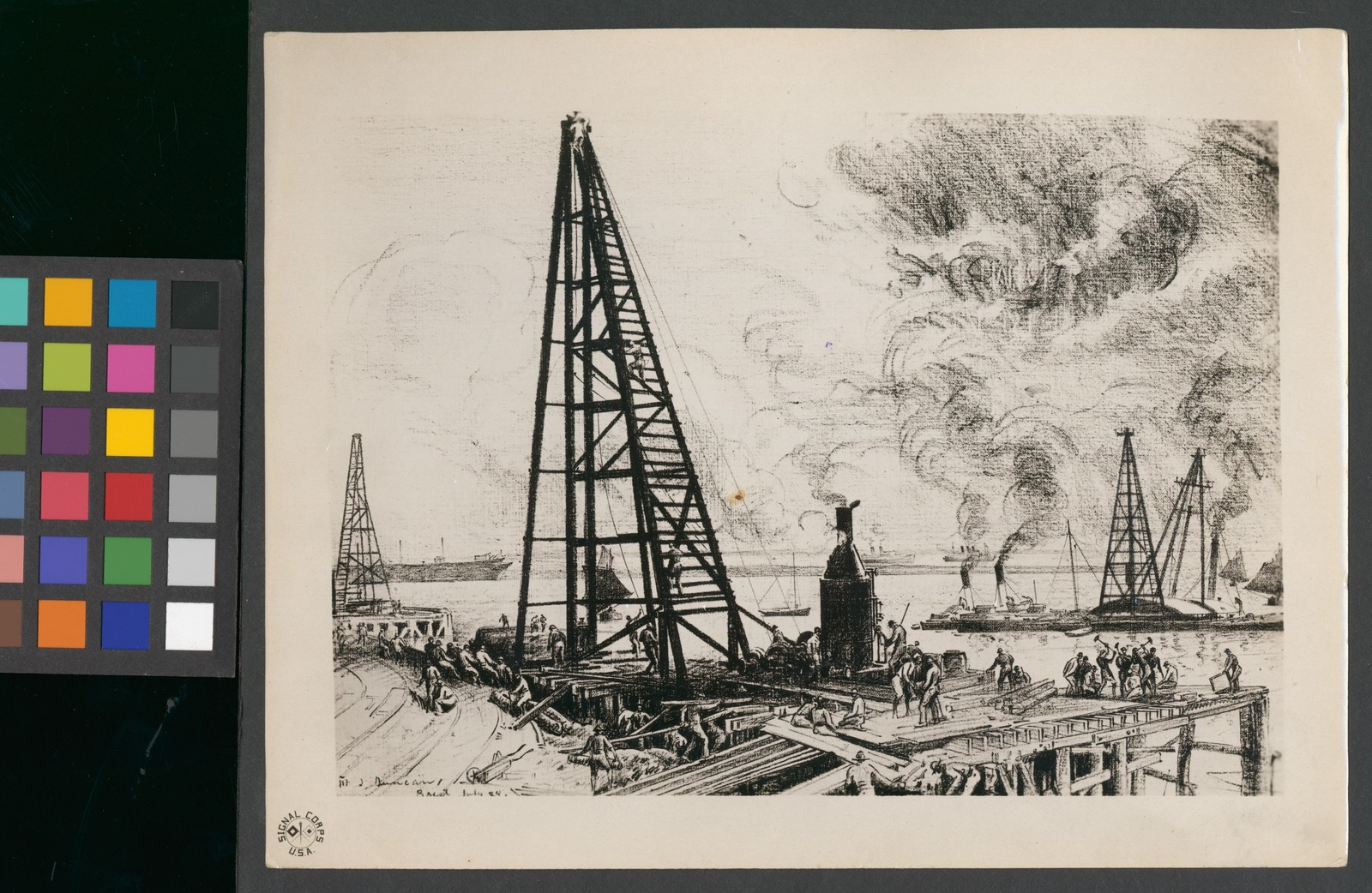 The construction of docks at Brest by the U.S. Engineers. Brest, Finistere, France.
