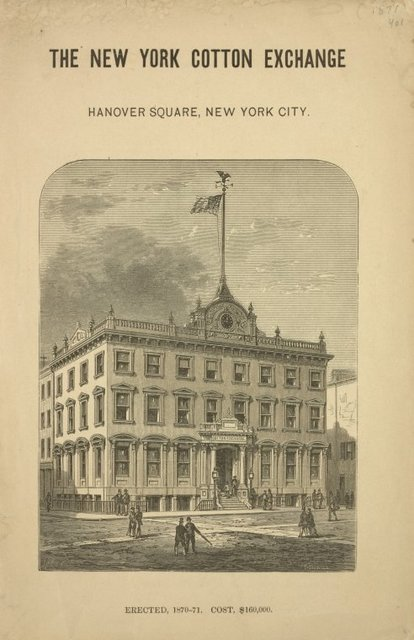 The new cotton exchange, Hanover Square, New York City. Picture of the building, erected, 1870-71. Cost $160,000