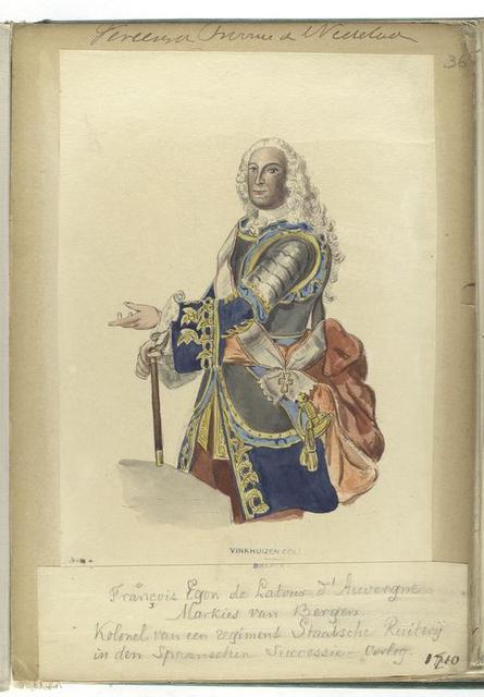 Vereenigde Provincien de Nederlanden. François Egon de Latour d'Auvergne Markies van Bergen. Kolonel van een regiment Staatsche Ruiterij in den Spaanschen Successie Oorlog. 1710