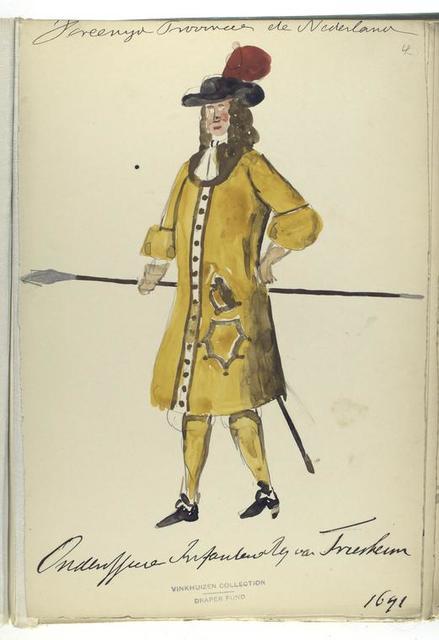 Vereenigde Provincien de Nederlanden. Onderofficier Infanterie Reg. Van Friesheim. 1691