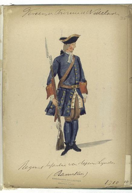 Vereenigde Provincien de Nederlanden. Regiment Infanteria van Aspe.. Lyndes (...?) 1710