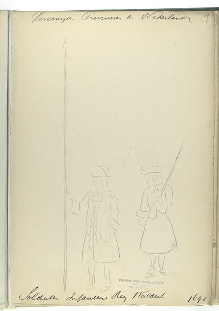Vereenigde Provincien de Nederlanden. Soldaten Reg, Infanterie Waldeck. 1691