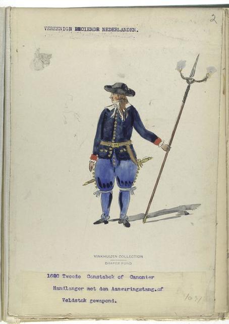 Vereenigde Provincien de Nederlanden. Tweede Constabek of Canonier Hadlanger met den Aavuringstang of Veldstok gewapend. 1691