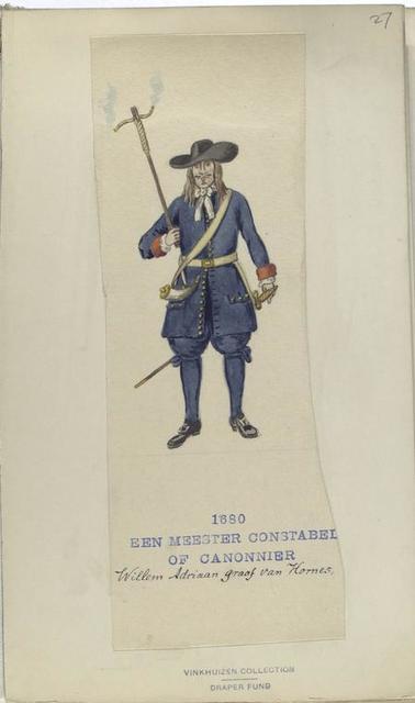Vereenigde Provincien der Nederlanden Een Meester Constabel of Canonnier. Willem Adriaan graaf van Hornes. 1680