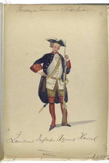 Vereenigde Provincien der Nederlanden.  [Luitenant? Infanterie Regiment ]. 1725