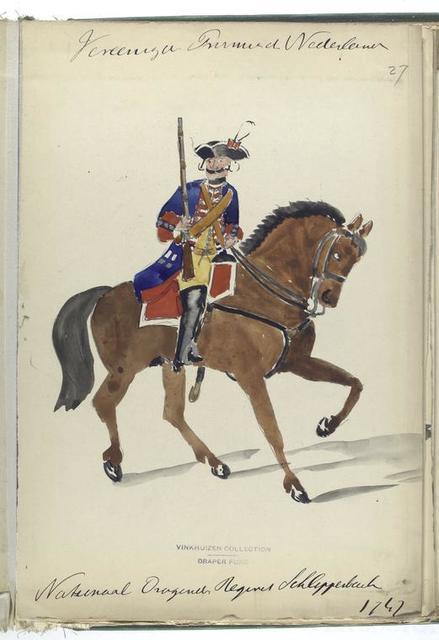 Vereenigde Provincien der Nederlanden. Nationaal Dragonder Regiment Schlippesback [?].  1747