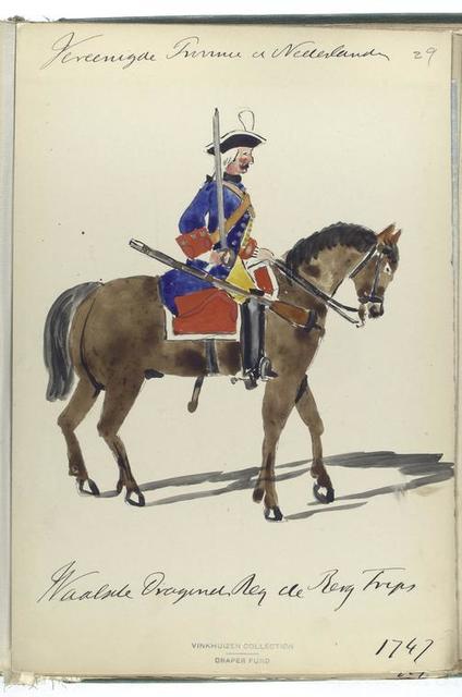 Vereenigde Provincien der Nederlanden. Waalsche Dragonder Regiment de Berg Trips.  1747