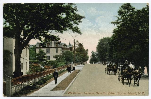 Westervelt Avenue, New Brighton, Staten Island, N.Y.  [very interesting, colorful card with large homes, people strolling on sidewalk and people in open horse-drawn carriages]