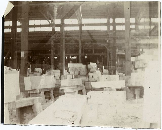 Yard at Port Morris, showing marble ready for library.