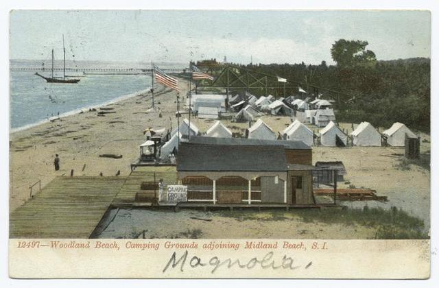 12497-Woodland Beach, Camping Grounds adjoining Midland Beach, Staten Island [tents, shoreline, entrance building.]
