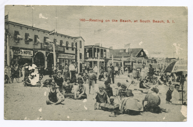 160-Resting on the Beach, at South Beach, S. I. (people on beach in front of a hotel and restaurant and other buildings.