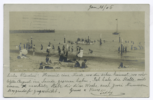 755 Bathing at South Beach, Staten Island, cpy 1903 by A. Loeffler, Tompkinsville, N.Y. (people on shoreline, pier and water float in distance)