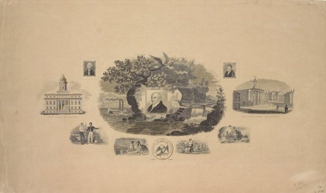 A sheet of vignettes. . .including depictions of Stephen Girard on rock by waterside, New York Exchange, Philadelphia Exchange, portraits of Washington and Lafayette, Washington crossing the Delaware, after Sully, a U[nited] States dollar, and three allegorical vignettes.