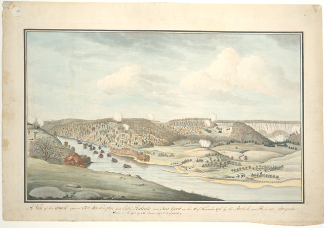 A view of the attack against Fort Washington and rebel redouts near New York on the 16 of November 1776 by the British and Hessian brigades.