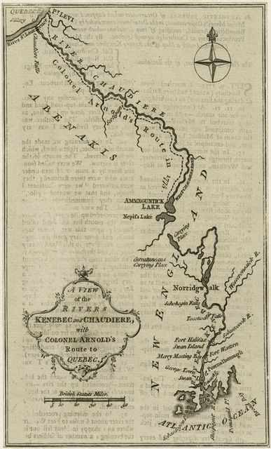 A view of the rivers Kenebec and Chaudiere, with Colonel Arnold's route to Quebec.
