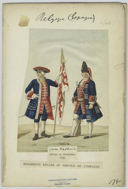 Alférès et grenadier. 1740. Régiments belges au service de l'Espagne.