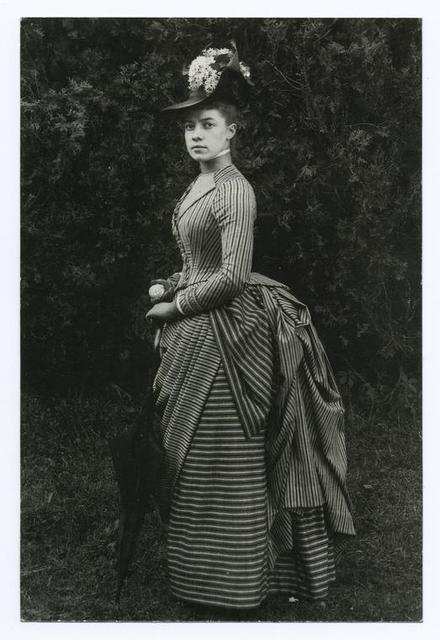 "Alice Austen (1866-1952) at age 22, posed at her home ""Clear Comfort"" published by Friends of Alice Austen House."