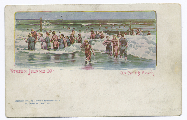 AMERICAN SOUVENIR CARD, Staten Island 10, On South Beach, cpy 1897 [people in old bathing costumes wading in surf.]