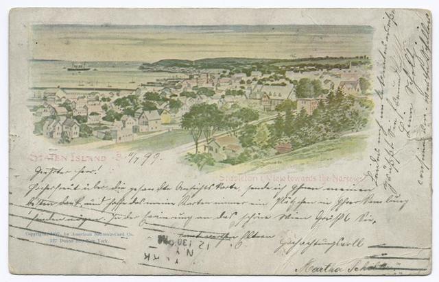 AMERICAN SOUVENIR CARD, Staten Island-3,  [Stapleton View towards the Narrows]