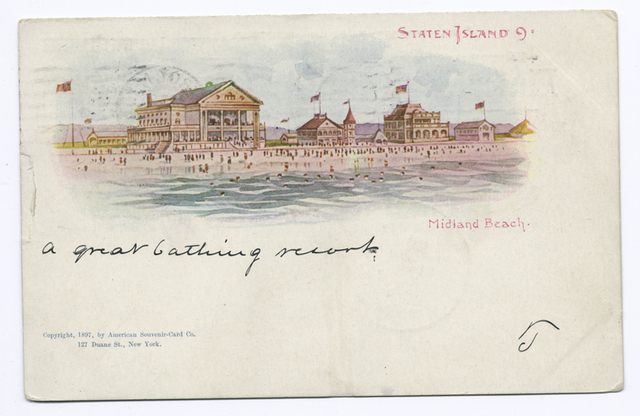 AMERICAN SOUVENIR CARD, Staten Island 9,  Midland Beach, cpy 1897 [shore and pavilion.]