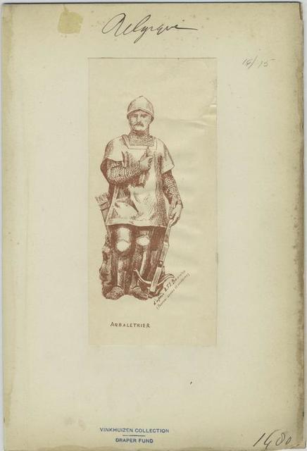 Arbaletrier. D'après A.F.I. Bozière (Tournai ancien et moderne)