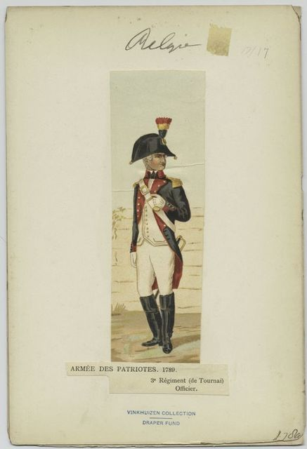 Armée des patriotes. 17689. 3e régiment (de Tournai) Officier