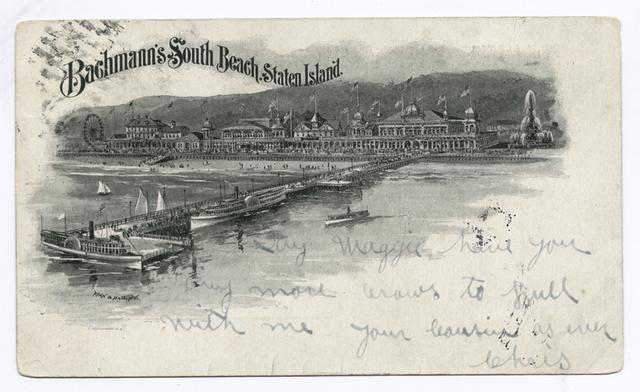 Bachmann's South Beach, S.I., Souvenir  [buildings, pier, sailboats, cameo-type.]