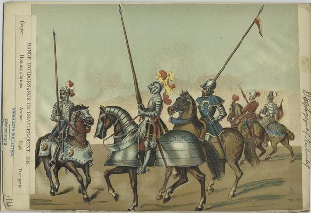 Bande d'ordonnance de Charles - Qunt, 1543.  Écuyer ; Homme d'armes ; Archer ; Page ; Trompette