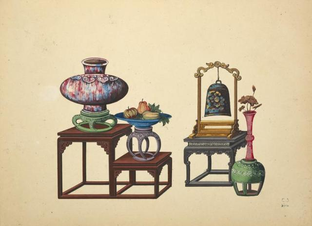 Bi-level table with vase and dish, low small table with hanging bell, vase.