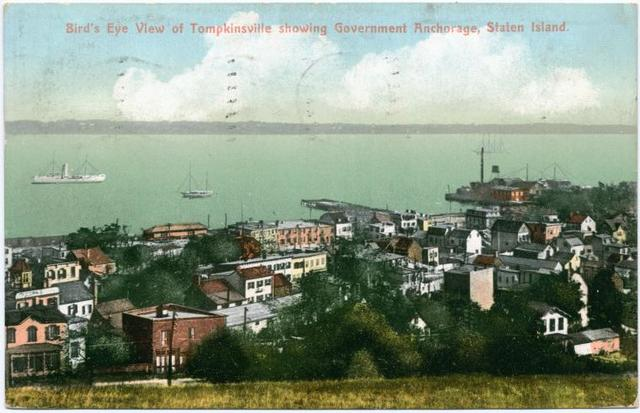 Bird's Eye View of Tompkinsville showing Government Anchorage, Staten Island