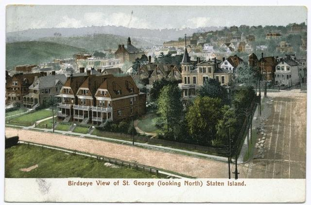 Birdseye(sic) View of St. George [looking North] Staten Island [printed on lower white border]