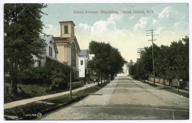 Cebre Avenue, Stapleton, Staten Island, N.Y. [brick street with homes, church and old gas street lamp]