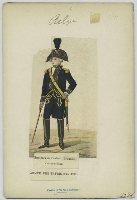 Chasseurs de Brabant (Bruxelles). Commandant. Armée des patriotes, 1789