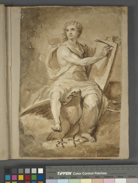Classical figure in robes, riding an eagle and writing on a tablet